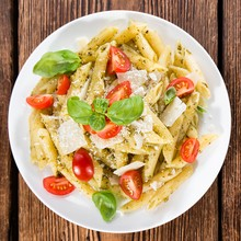 Tomato Zucchini Penne with Pesto