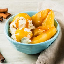 Spiced Poached Pears with Caramel and Ice Cream